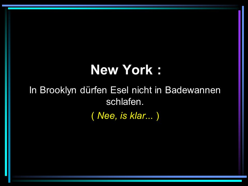 New York : In Brooklyn dürfen Esel nicht in Badewannen schlafen. ( Nee, is klar... )