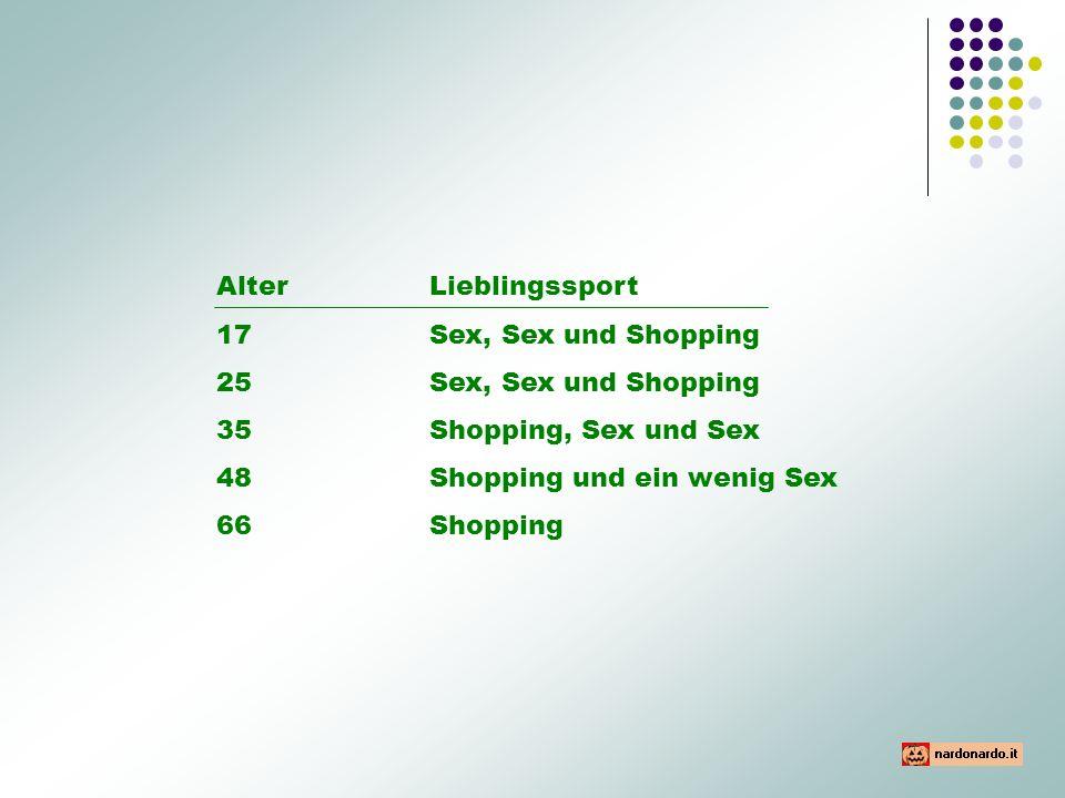 AlterLieblingssport 17 Sex, Sex und Shopping 25Sex, Sex und Shopping 35Shopping, Sex und Sex 48Shopping und ein wenig Sex 66Shopping