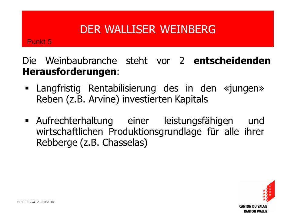 DEET / SCA 2. Juli 2010 DER WALLISER WEINBERG Punkt 5 Die Weinbaubranche steht vor 2 entscheidenden Herausforderungen: Langfristig Rentabilisierung de