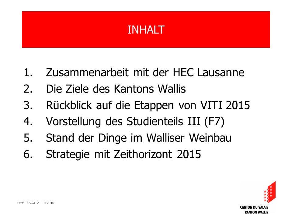 DEET / SCA 2. Juli 2010 1.Zusammenarbeit mit der HEC Lausanne 2.Die Ziele des Kantons Wallis 3.Rückblick auf die Etappen von VITI 2015 4.Vorstellung d