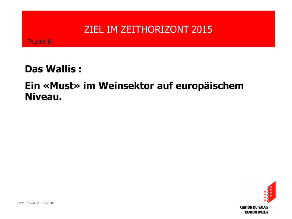 DEET / SCA 2. Juli 2010 ZIEL IM ZEITHORIZONT 2015 Punkt 6 Das Wallis : Ein «Must» im Weinsektor auf europäischem Niveau.