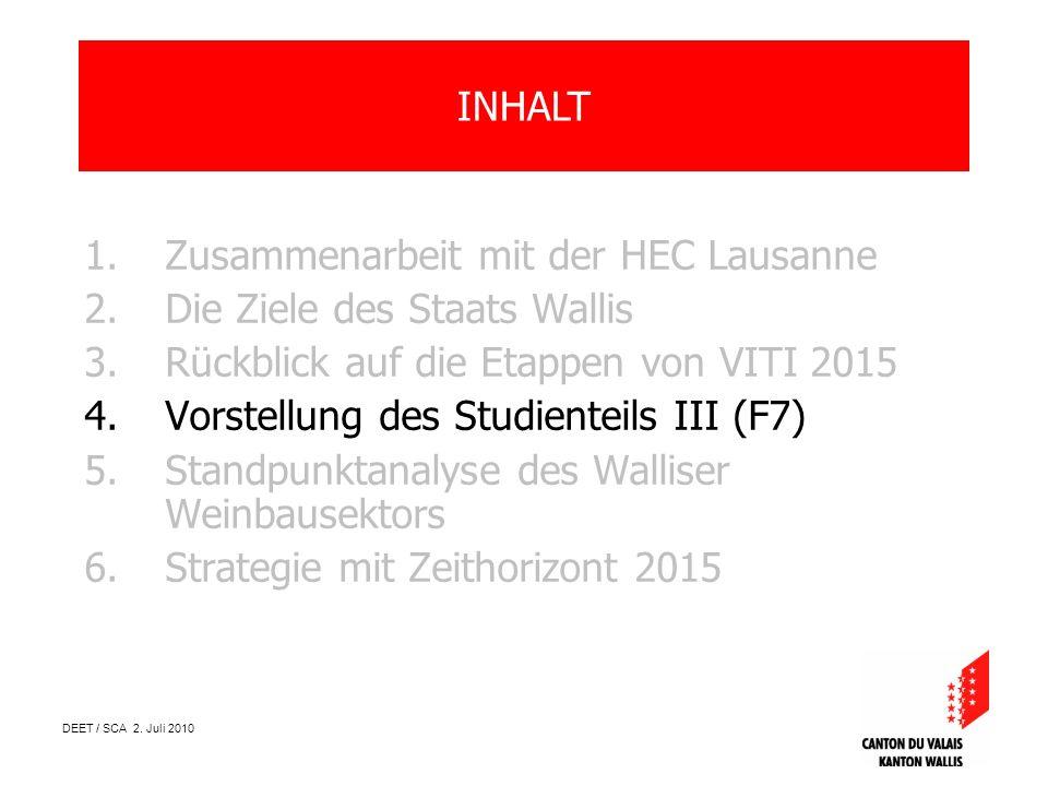DEET / SCA 2. Juli 2010 1.Zusammenarbeit mit der HEC Lausanne 2.Die Ziele des Staats Wallis 3.Rückblick auf die Etappen von VITI 2015 4.Vorstellung de