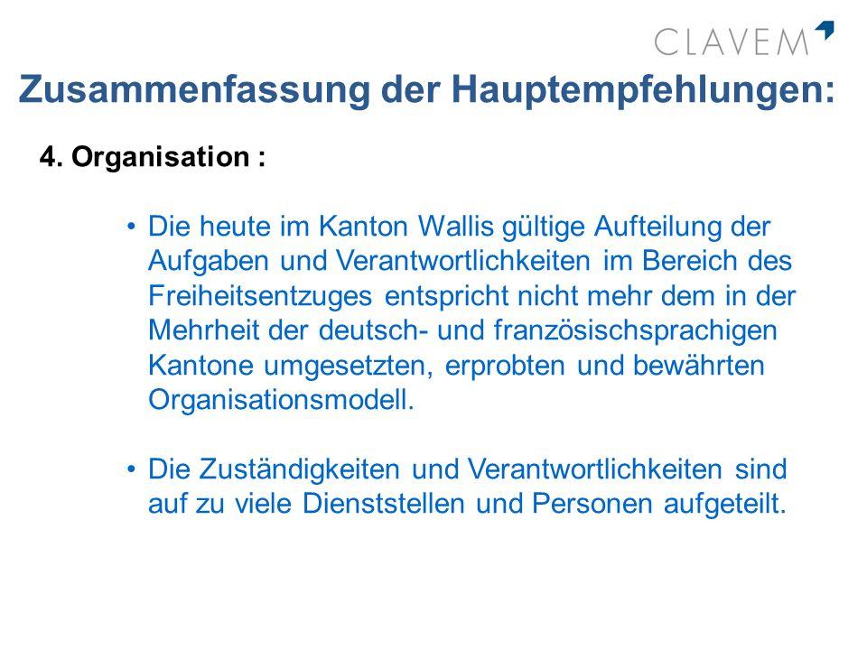 Zusammenfassung der Hauptempfehlungen: 4. Organisation : Die heute im Kanton Wallis gültige Aufteilung der Aufgaben und Verantwortlichkeiten im Bereic