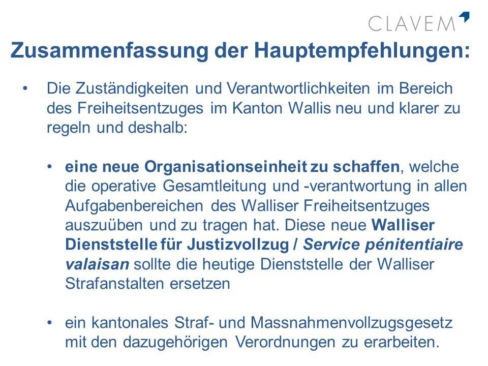 Zusammenfassung der Hauptempfehlungen: Die Zuständigkeiten und Verantwortlichkeiten im Bereich des Freiheitsentzuges im Kanton Wallis neu und klarer z