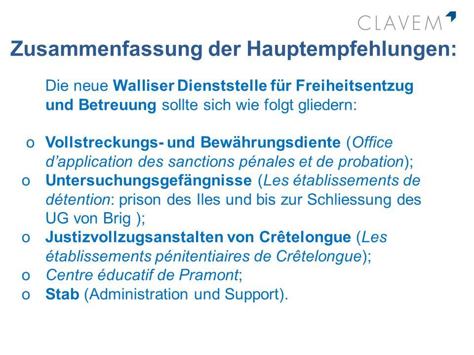 Zusammenfassung der Hauptempfehlungen: Die neue Walliser Dienststelle für Freiheitsentzug und Betreuung sollte sich wie folgt gliedern: oVollstreckung
