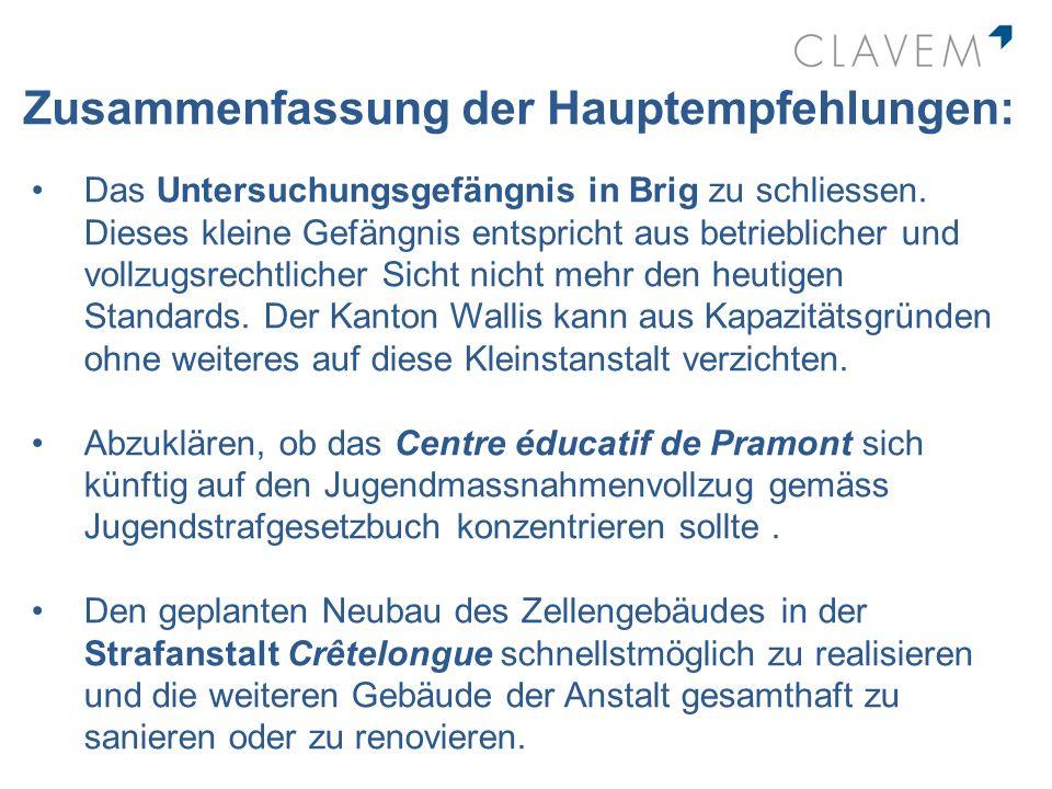 Zusammenfassung der Hauptempfehlungen: Das Untersuchungsgefängnis in Brig zu schliessen. Dieses kleine Gefängnis entspricht aus betrieblicher und voll