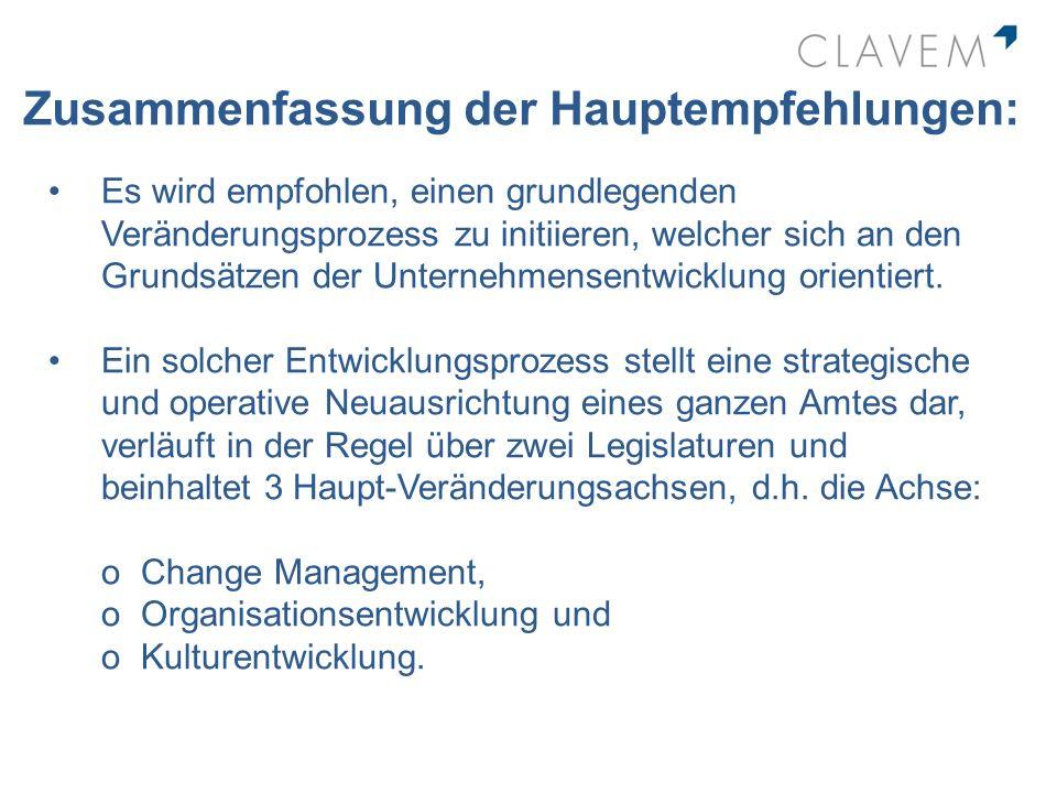 Zusammenfassung der Hauptempfehlungen: Es wird empfohlen, einen grundlegenden Veränderungsprozess zu initiieren, welcher sich an den Grundsätzen der U