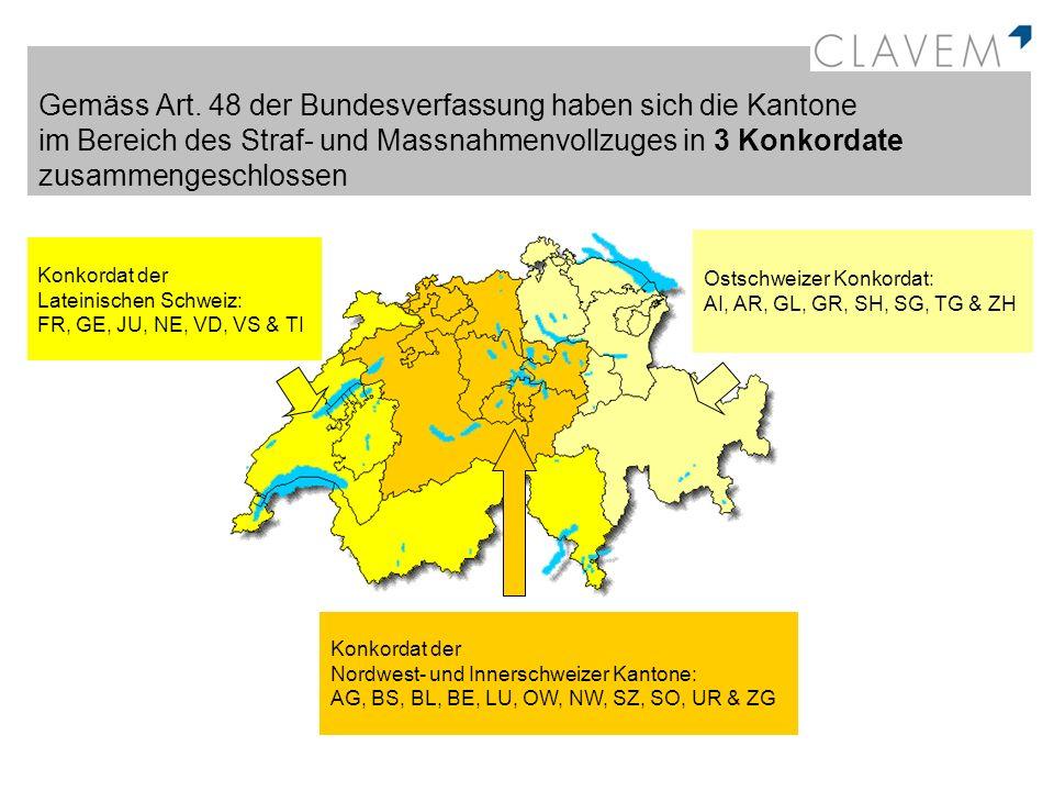 Gemäss Art. 48 der Bundesverfassung haben sich die Kantone im Bereich des Straf- und Massnahmenvollzuges in 3 Konkordate zusammengeschlossen Konkordat