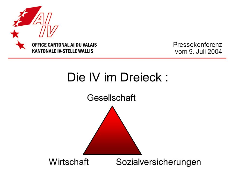 Die IV im Dreieck : Pressekonferenz vom 9. Juli 2004 WirtschaftSozialversicherungen Gesellschaft