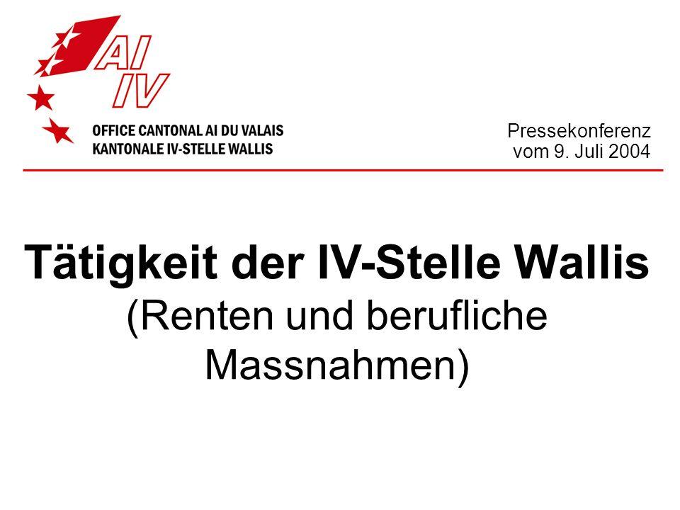 Pressekonferenz vom 9. Juli 2004 Tätigkeit der IV-Stelle Wallis (Renten und berufliche Massnahmen)