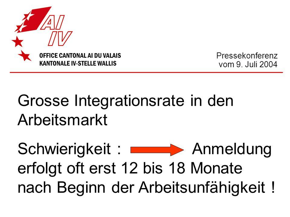Pressekonferenz vom 9. Juli 2004 Grosse Integrationsrate in den Arbeitsmarkt Schwierigkeit : Anmeldung erfolgt oft erst 12 bis 18 Monate nach Beginn d