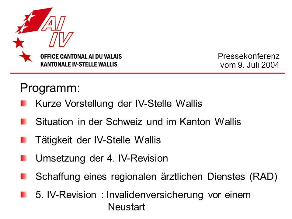 Kurze Vorstellung der IV-Stelle Wallis Situation in der Schweiz und im Kanton Wallis Tätigkeit der IV-Stelle Wallis Umsetzung der 4. IV-Revision Schaf