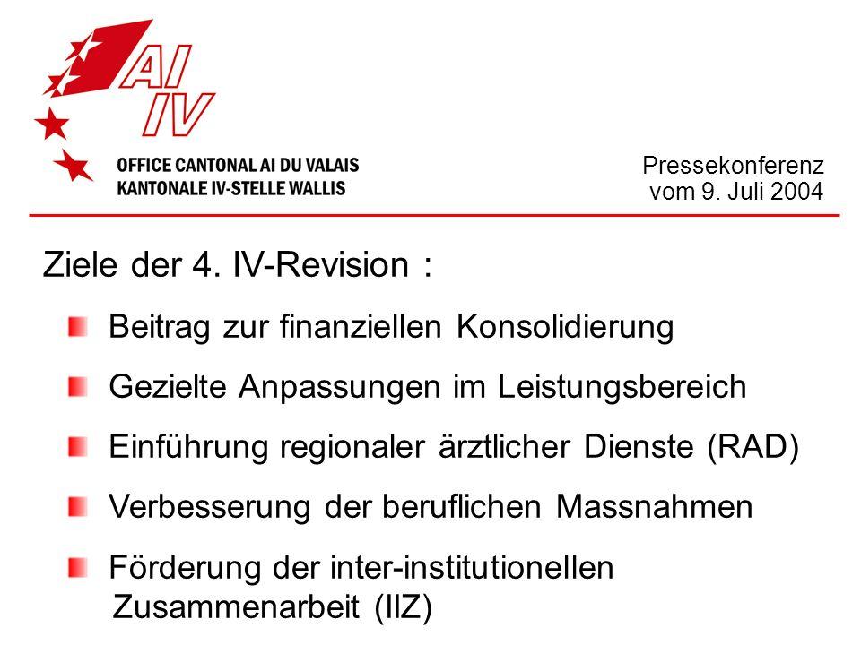 Ziele der 4. IV-Revision : Beitrag zur finanziellen Konsolidierung Gezielte Anpassungen im Leistungsbereich Einführung regionaler ärztlicher Dienste (
