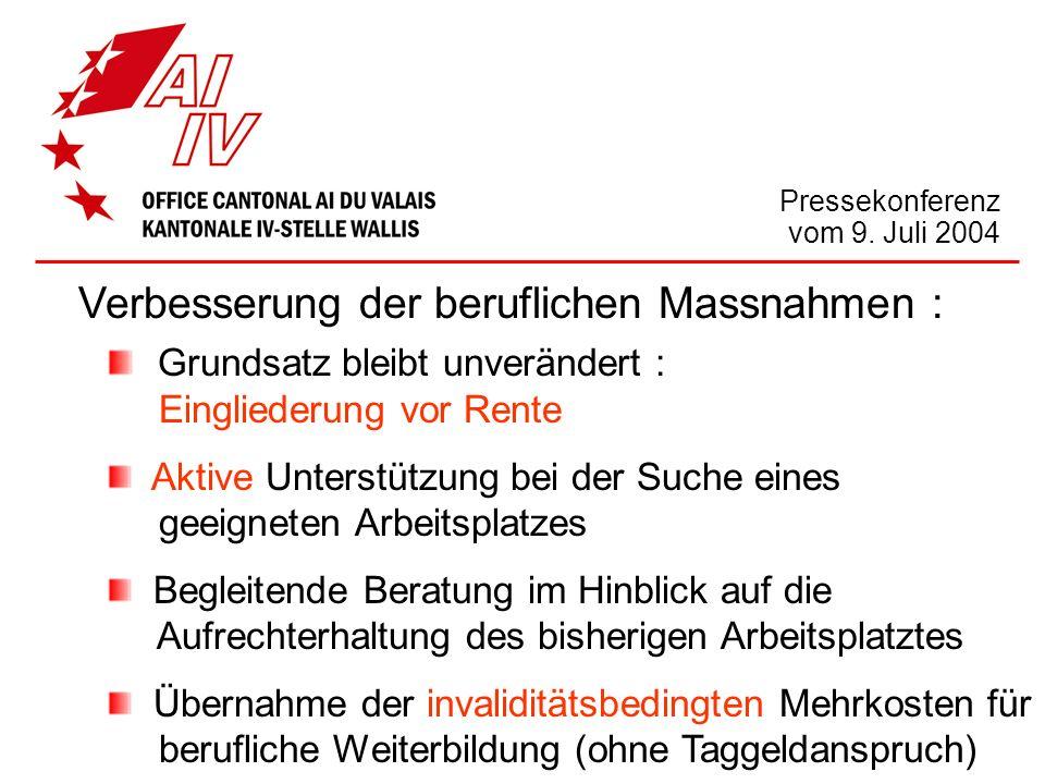 Pressekonferenz vom 9. Juli 2004 Verbesserung der beruflichen Massnahmen : Grundsatz bleibt unverändert : Eingliederung vor Rente Aktive Unterstützung