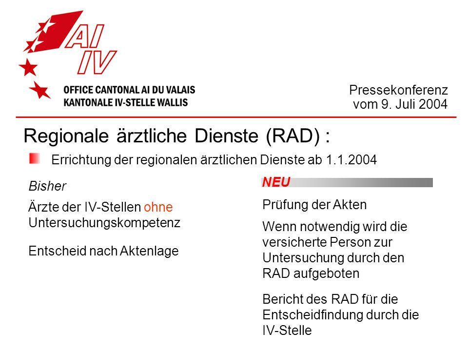 Regionale ärztliche Dienste (RAD) : Errichtung der regionalen ärztlichen Dienste ab 1.1.2004 Bisher Ärzte der IV-Stellen ohne Untersuchungskompetenz E