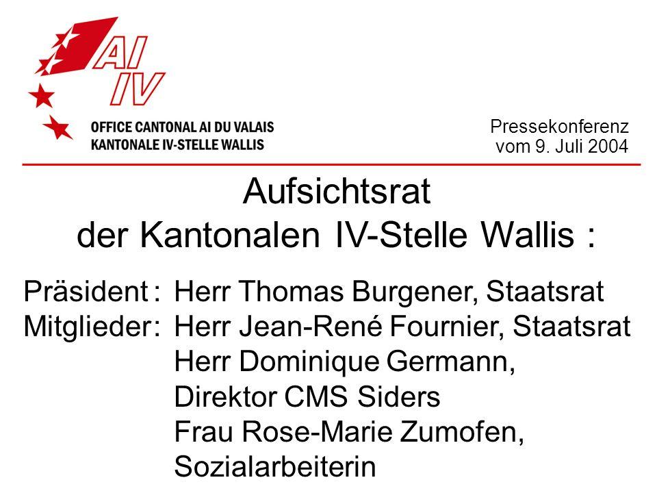 Aufsichtsrat der Kantonalen IV-Stelle Wallis : Präsident:Herr Thomas Burgener, Staatsrat Mitglieder:Herr Jean-René Fournier, Staatsrat Herr Dominique