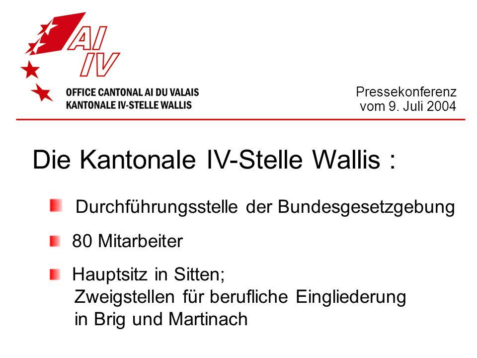 Die Kantonale IV-Stelle Wallis : Durchführungsstelle der Bundesgesetzgebung 80 Mitarbeiter Hauptsitz in Sitten; Zweigstellen für berufliche Einglieder