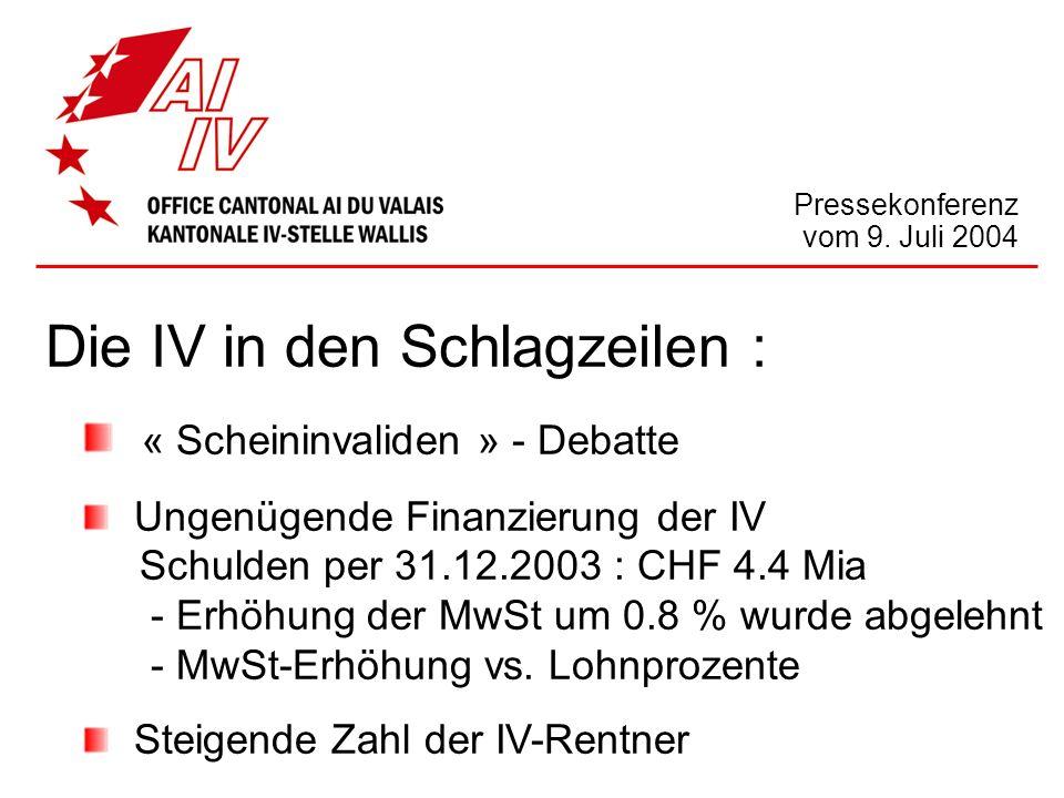 Die IV in den Schlagzeilen : « Scheininvaliden » - Debatte Ungenügende Finanzierung der IV Schulden per 31.12.2003 : CHF 4.4 Mia - Erhöhung der MwSt u