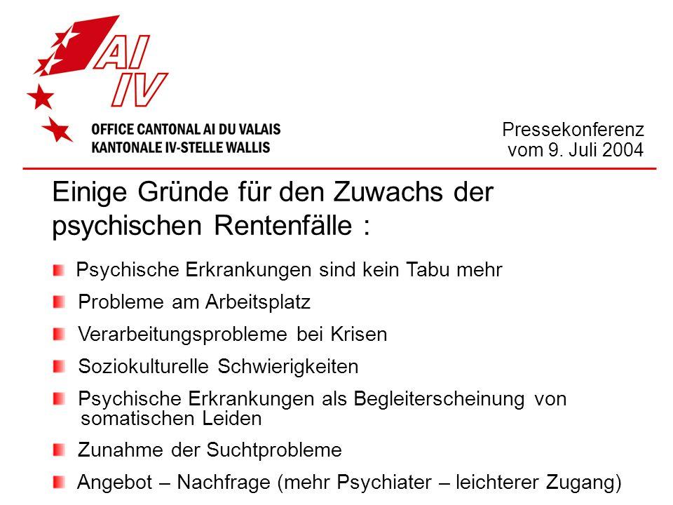 Pressekonferenz vom 9. Juli 2004 Einige Gründe für den Zuwachs der psychischen Rentenfälle : Psychische Erkrankungen sind kein Tabu mehr Probleme am A