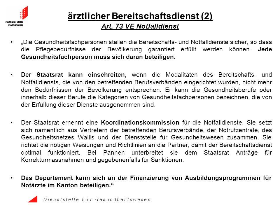 D i e n s t s t e l l e f ü r G e s u n d h e i t s w e s e n ärztlicher Bereitschaftsdienst (2) Art.