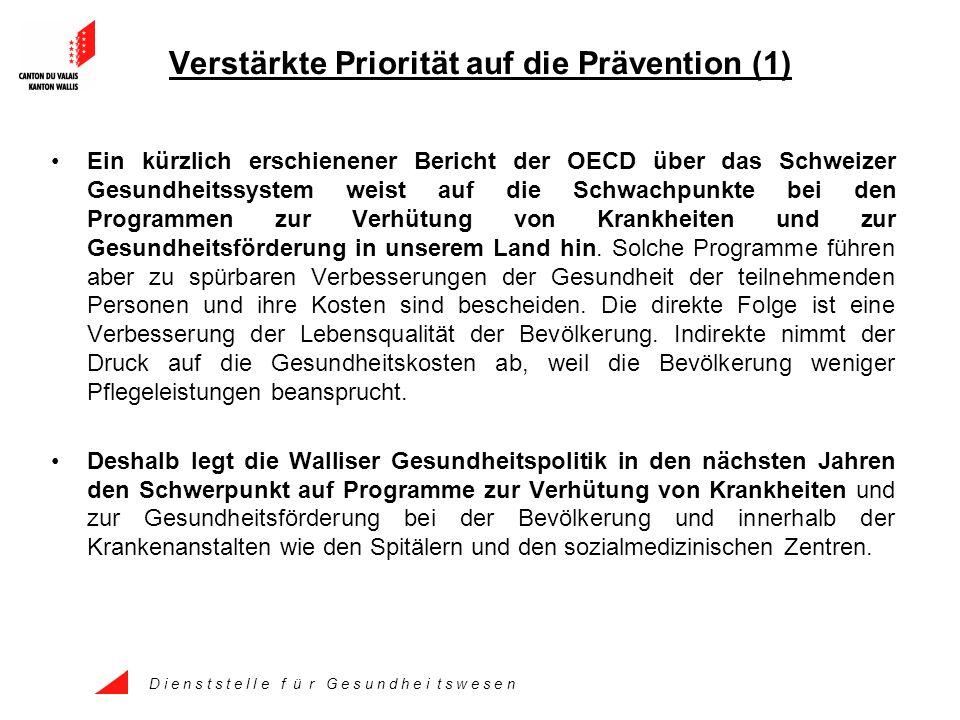 D i e n s t s t e l l e f ü r G e s u n d h e i t s w e s e n Verstärkte Priorität auf die Prävention (1) Ein kürzlich erschienener Bericht der OECD über das Schweizer Gesundheitssystem weist auf die Schwachpunkte bei den Programmen zur Verhütung von Krankheiten und zur Gesundheitsförderung in unserem Land hin.