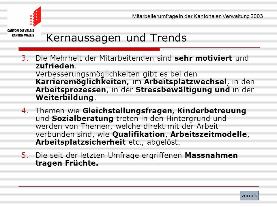Mitarbeiterumfrage in der Kantonalen Verwaltung 2003 Kernaussagen und Trends 3.Die Mehrheit der Mitarbeitenden sind sehr motiviert und zufrieden. Verb
