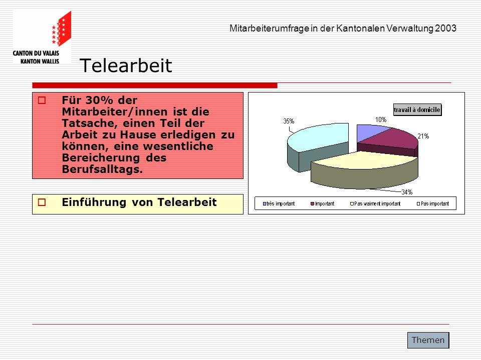 Mitarbeiterumfrage in der Kantonalen Verwaltung 2003 Telearbeit Für 30% der Mitarbeiter/innen ist die Tatsache, einen Teil der Arbeit zu Hause erledig