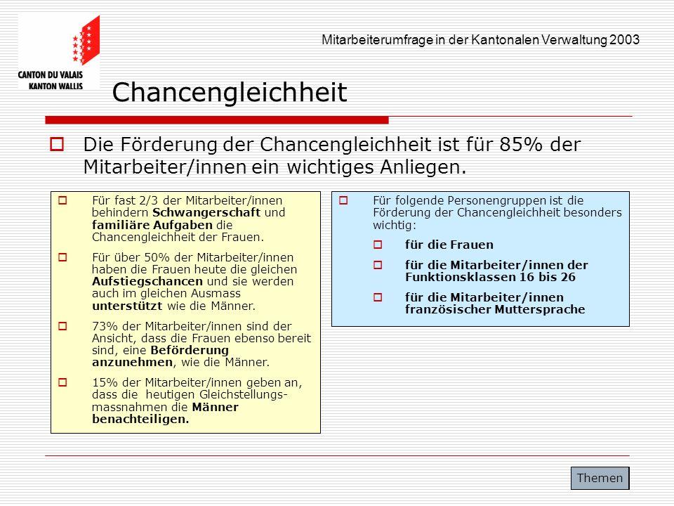 Mitarbeiterumfrage in der Kantonalen Verwaltung 2003 Chancengleichheit Die Förderung der Chancengleichheit ist für 85% der Mitarbeiter/innen ein wicht