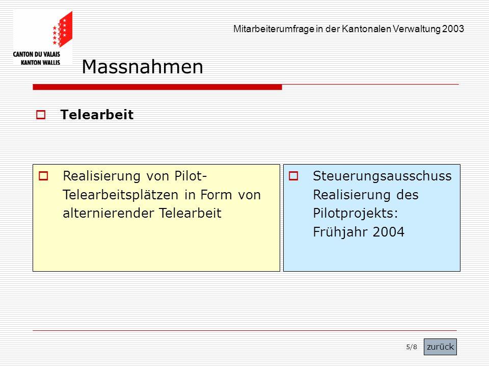 Mitarbeiterumfrage in der Kantonalen Verwaltung 2003 Telearbeit Realisierung von Pilot- Telearbeitsplätzen in Form von alternierender Telearbeit Steue