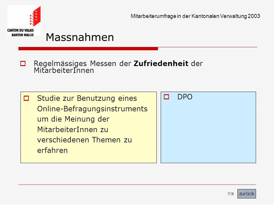 Mitarbeiterumfrage in der Kantonalen Verwaltung 2003 Regelmässiges Messen der Zufriedenheit der MitarbeiterInnen Studie zur Benutzung eines Online-Bef