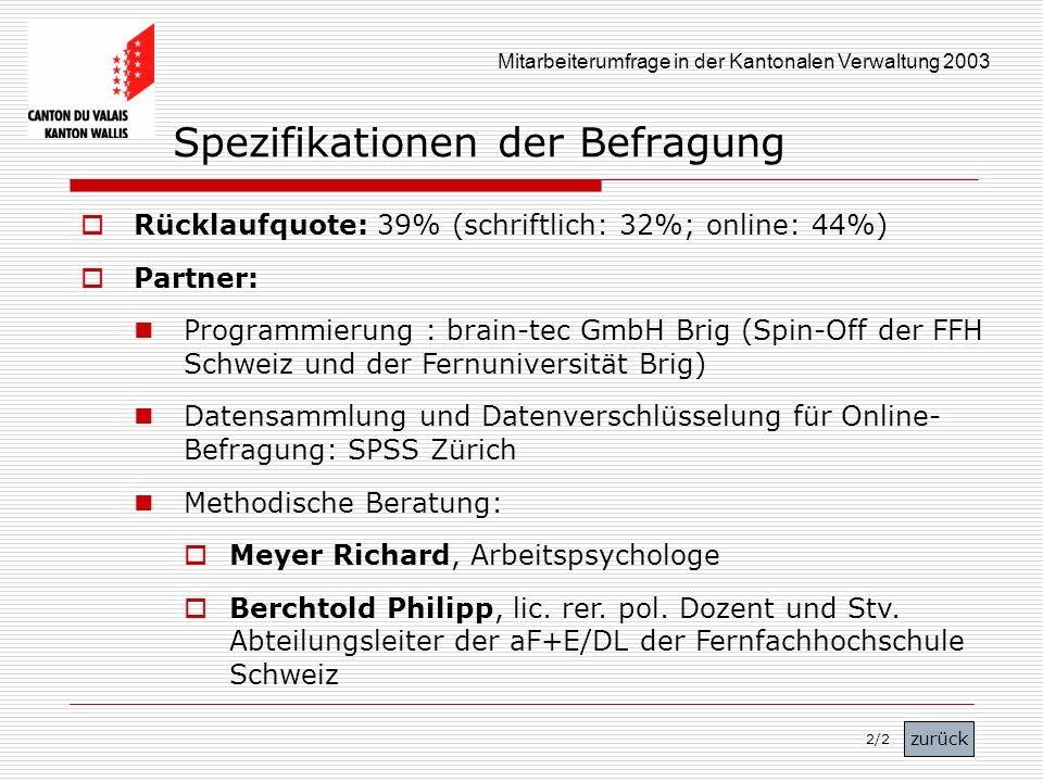 Mitarbeiterumfrage in der Kantonalen Verwaltung 2003 Spezifikationen der Befragung Rücklaufquote: 39% (schriftlich: 32%; online: 44%) Partner: Program