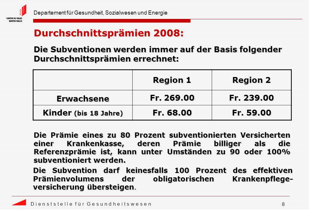 Departement für Gesundheit, Sozialwesen und Energie D i e n s t s t e l l e f ü r G e s u n d h e i t s w e s e n 8 Durchschnittsprämien 2008: Region 1 Region 2 Erwachsene Fr.