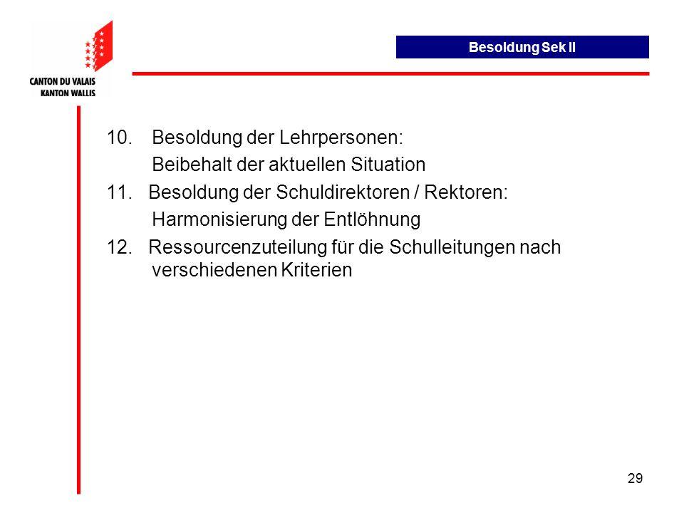 29 10.Besoldung der Lehrpersonen: Beibehalt der aktuellen Situation 11.