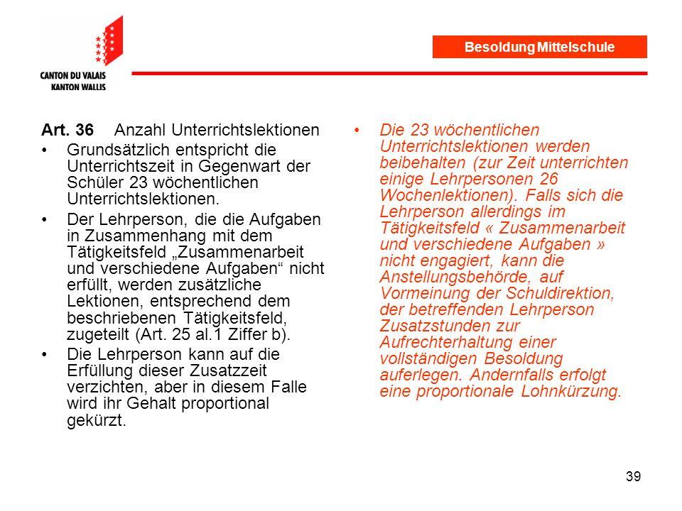 39 Besoldung Mittelschule Art.