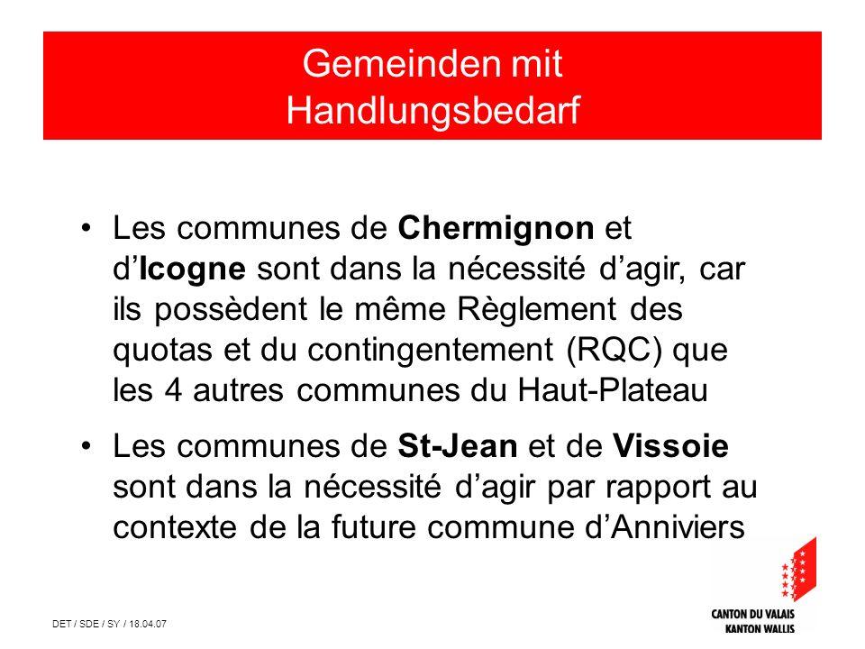 DET / SDE / SY / 18.04.07 Communes ayant la nécessité dagir Les communes de Chermignon et dIcogne sont dans la nécessité dagir, car ils possèdent le m