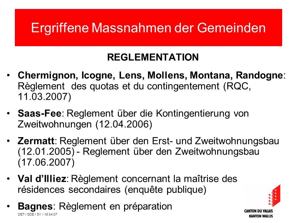 DET / SDE / SY / 18.04.07 REGLEMENTATION Chermignon, Icogne, Lens, Mollens, Montana, Randogne: Règlement des quotas et du contingentement (RQC, 11.03.