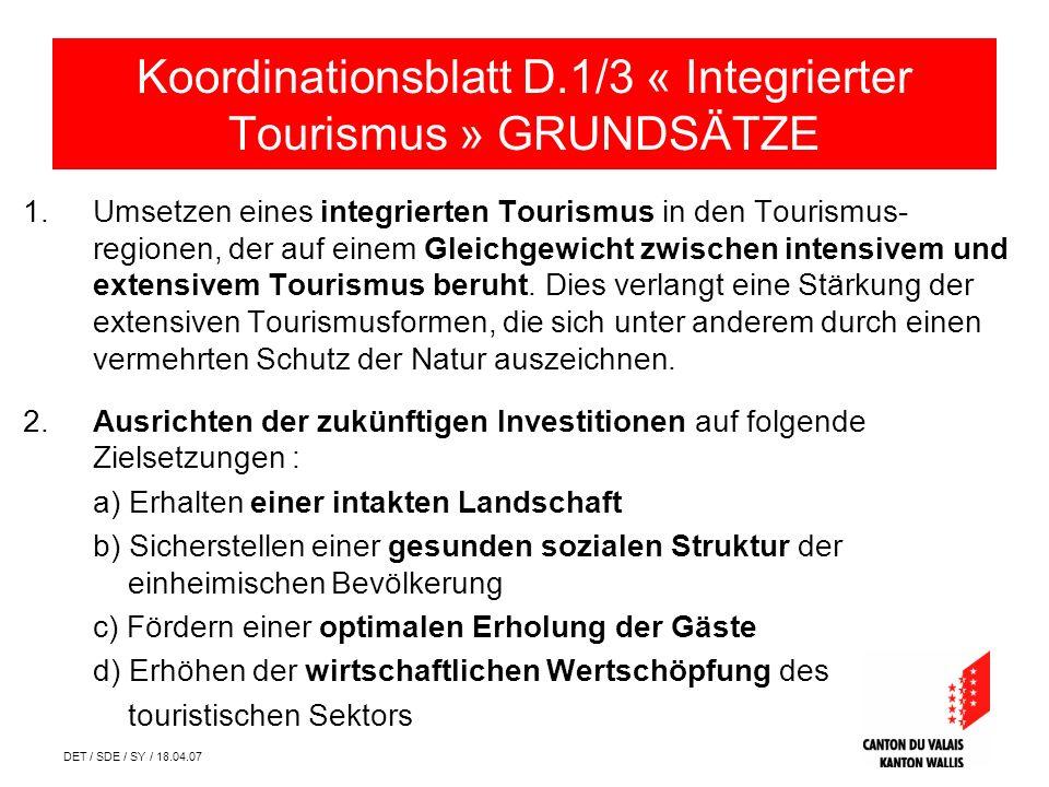 DET / SDE / SY / 18.04.07 1.Umsetzen eines integrierten Tourismus in den Tourismus- regionen, der auf einem Gleichgewicht zwischen intensivem und extensivem Tourismus beruht.