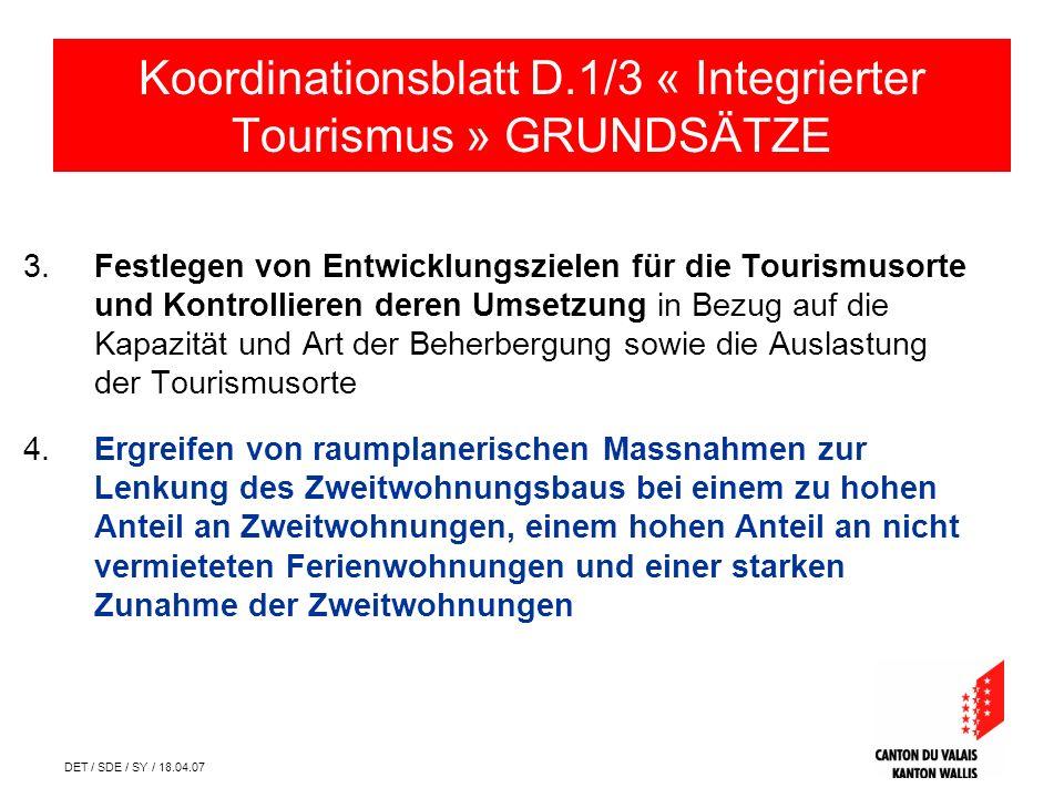 DET / SDE / SY / 18.04.07 3. Festlegen von Entwicklungszielen für die Tourismusorte und Kontrollieren deren Umsetzung in Bezug auf die Kapazität und A