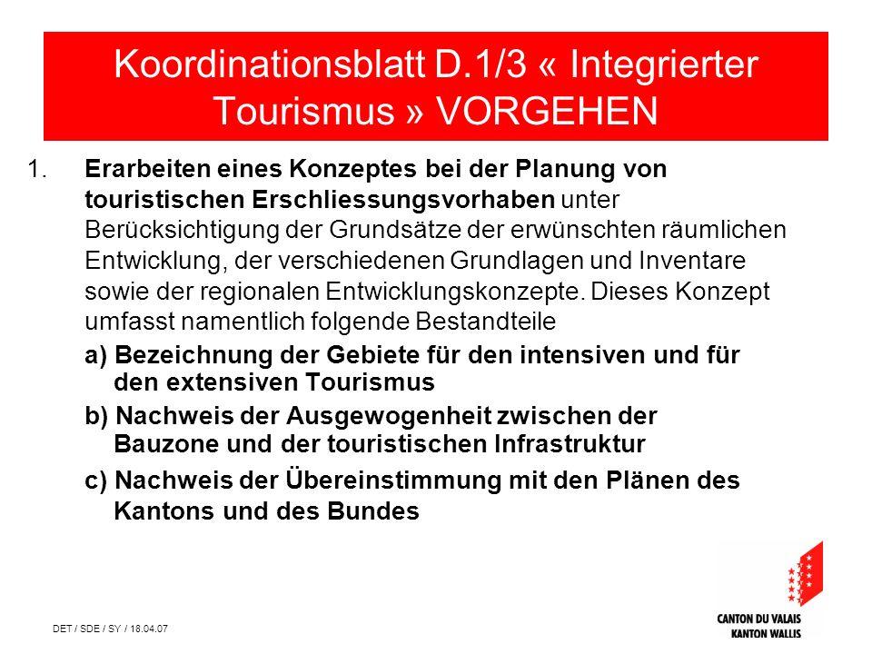 DET / SDE / SY / 18.04.07 1.Erarbeiten eines Konzeptes bei der Planung von touristischen Erschliessungsvorhaben unter Berücksichtigung der Grundsätze