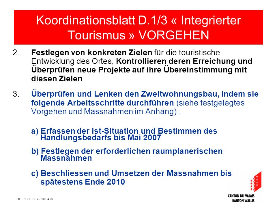 DET / SDE / SY / 18.04.07 Erfassen der Ist-Situation Koordinationsblatt D.1/3 « Integrierter Tourismus » ANHANG