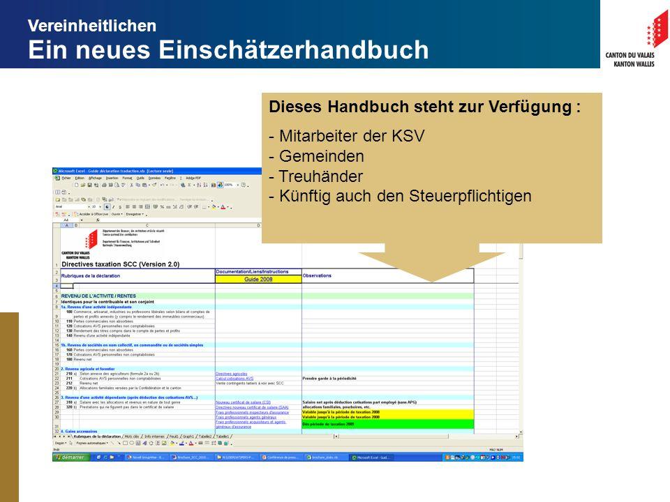 Ein neues Einschätzerhandbuch Dieses Handbuch steht zur Verfügung : - Mitarbeiter der KSV - Gemeinden - Treuhänder - Künftig auch den Steuerpflichtigen Vereinheitlichen