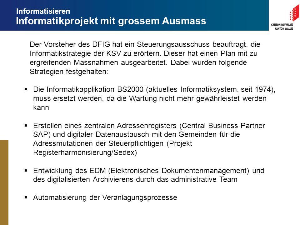 Informatikprojekt mit grossem Ausmass Der Vorsteher des DFIG hat ein Steuerungsausschuss beauftragt, die Informatikstrategie der KSV zu erörtern.