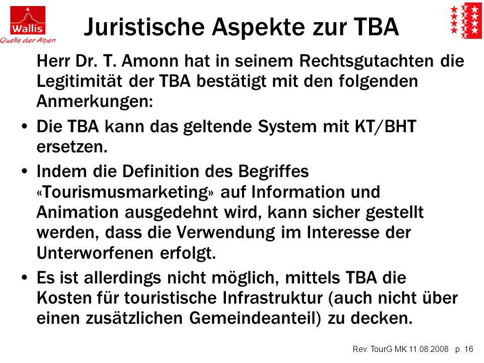 Rev. TourG MK 11.08.2008 p. 16 Juristische Aspekte zur TBA Herr Dr.
