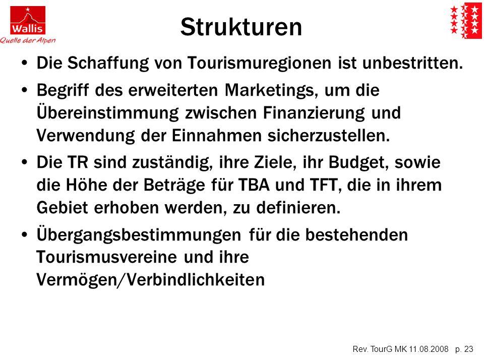 Rev. TourG MK 11.08.2008 p. 23 Strukturen Die Schaffung von Tourismuregionen ist unbestritten.