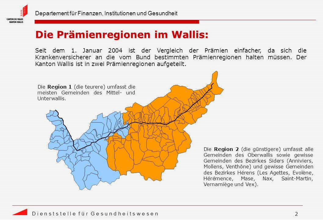 Departement für Finanzen, Institutionen und Gesundheit D i e n s t s t e l l e f ü r G e s u n d h e i t s w e s e n 2 Die Prämienregionen im Wallis: Seit dem 1.