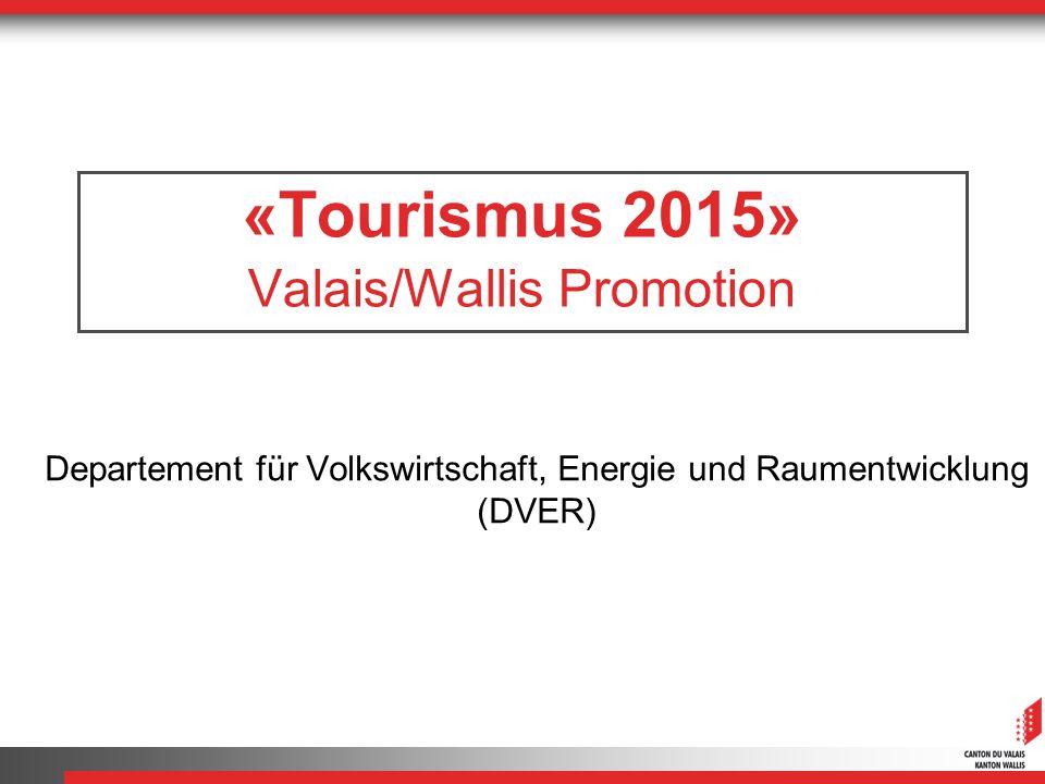«Tourismus 2015» Valais/Wallis Promotion Departement für Volkswirtschaft, Energie und Raumentwicklung (DVER)