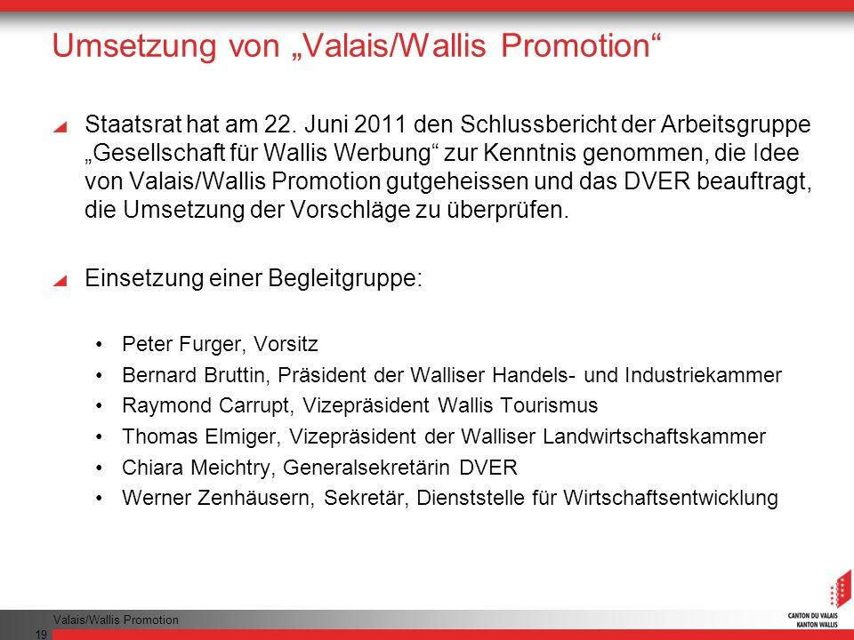 Valais/Wallis Promotion 19 Umsetzung von Valais/Wallis Promotion Staatsrat hat am 22.