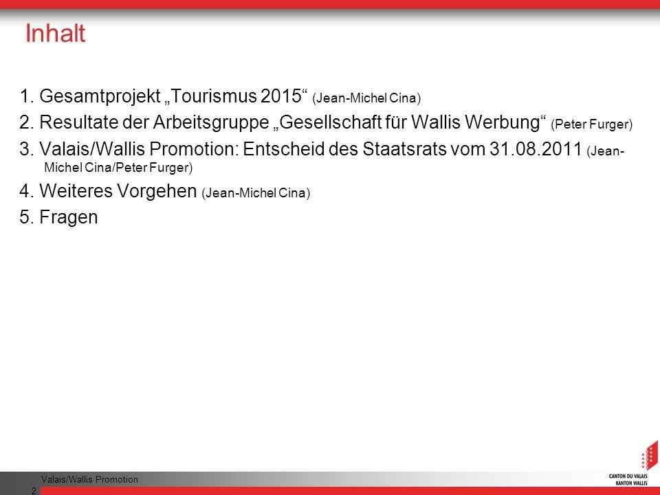 Valais/Wallis Promotion 2 Inhalt 1.Gesamtprojekt Tourismus 2015 (Jean-Michel Cina) 2.