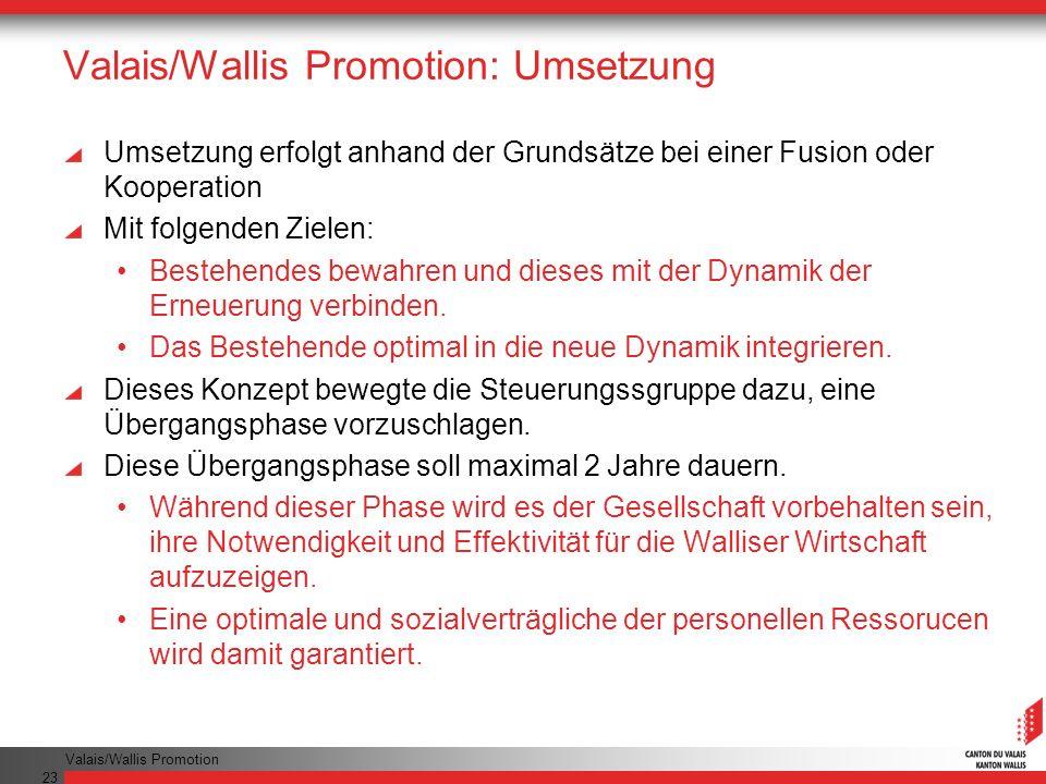 Valais/Wallis Promotion 23 Valais/Wallis Promotion: Umsetzung Umsetzung erfolgt anhand der Grundsätze bei einer Fusion oder Kooperation Mit folgenden Zielen: Bestehendes bewahren und dieses mit der Dynamik der Erneuerung verbinden.