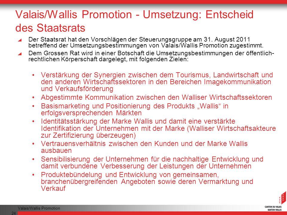 Valais/Wallis Promotion 24 Valais/Wallis Promotion - Umsetzung: Entscheid des Staatsrats Der Staatsrat hat den Vorschlägen der Steuerungsgruppe am 31.